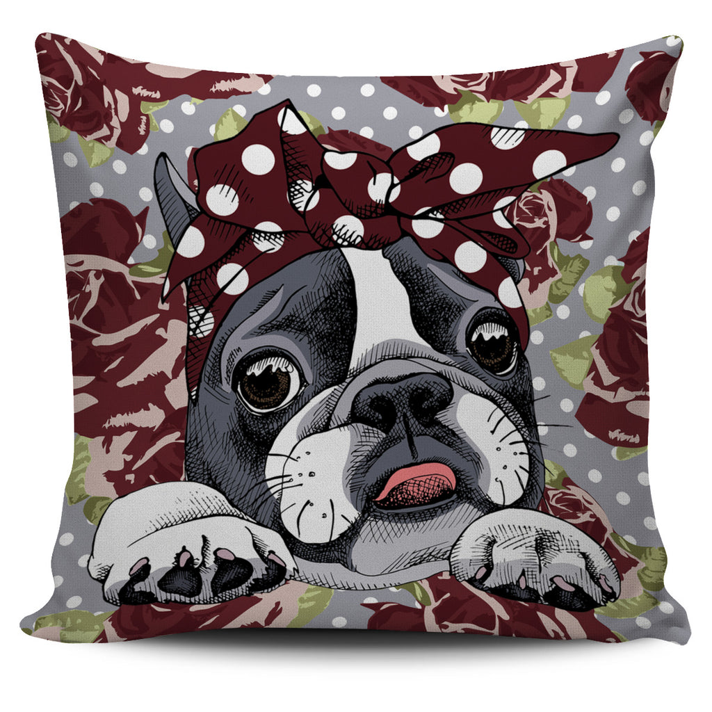 Floral Boston Terrier Dark Red Pillow Cover