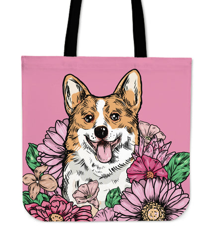 Illustrated Corgi Linen Tote Bag