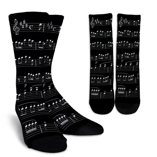 Music Note Socks Black Sheet Music Crew Socks From