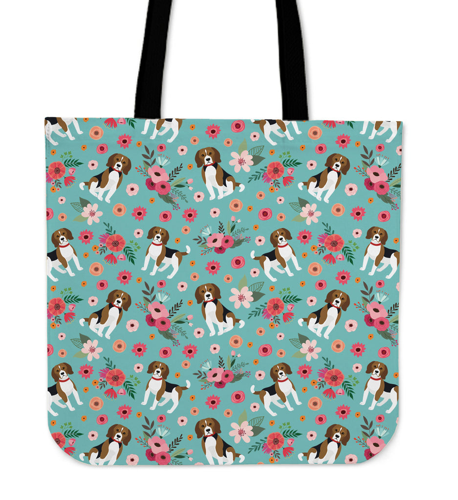 Beagle Flower Linen Tote Bag