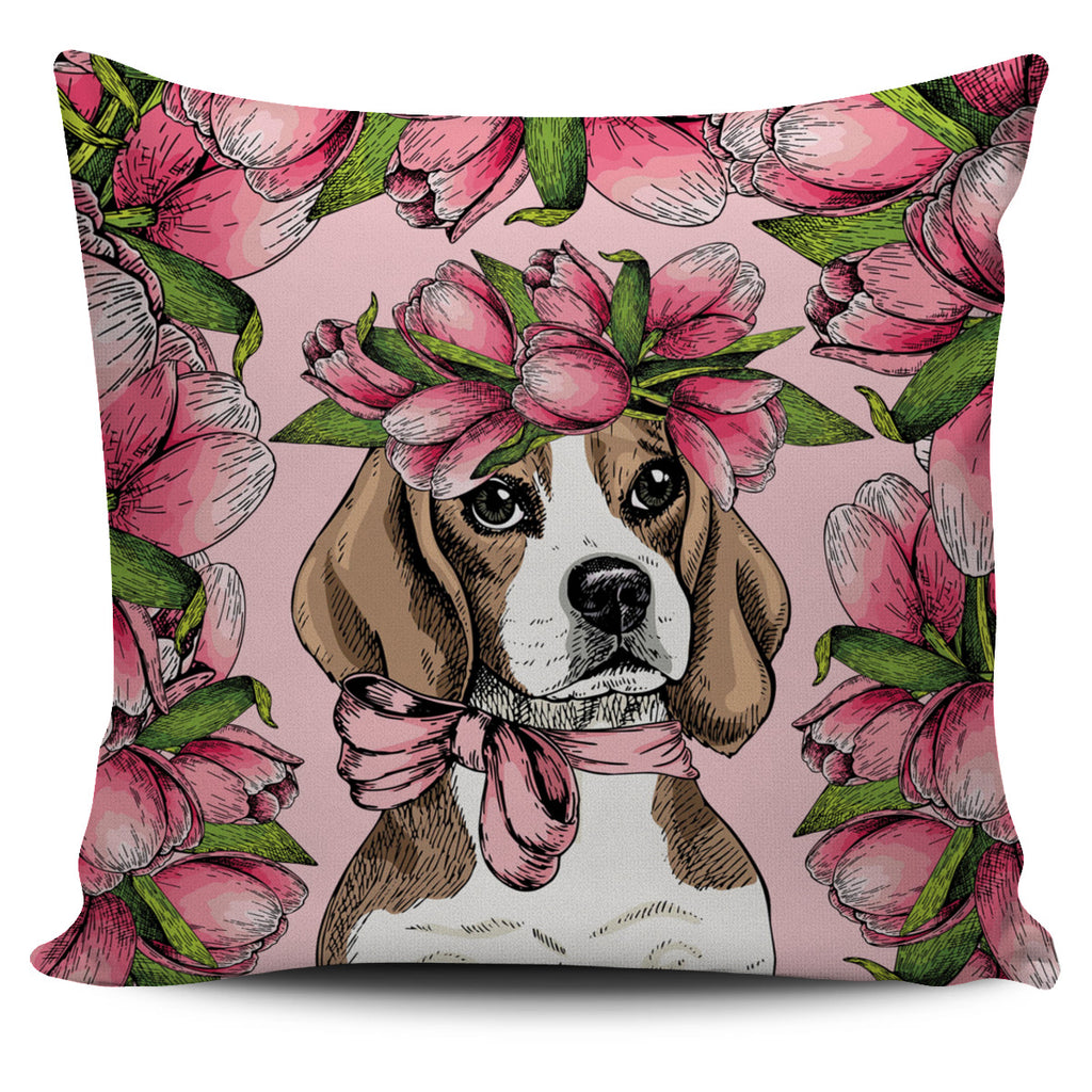 Floral Beagle Pillow Cover