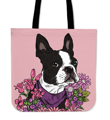 Illustrated Boston Terrier Linen Tote Bag