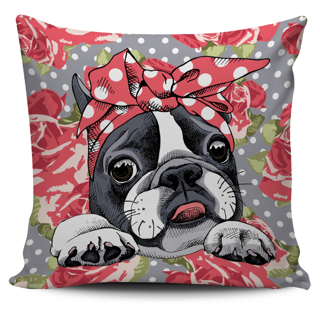 Floral Boston Terrier Pillow Cover