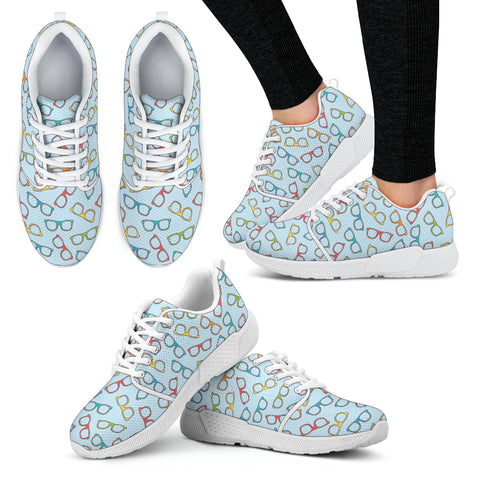 Eye Glasses Pattern Athletic Sneakers-Clearance