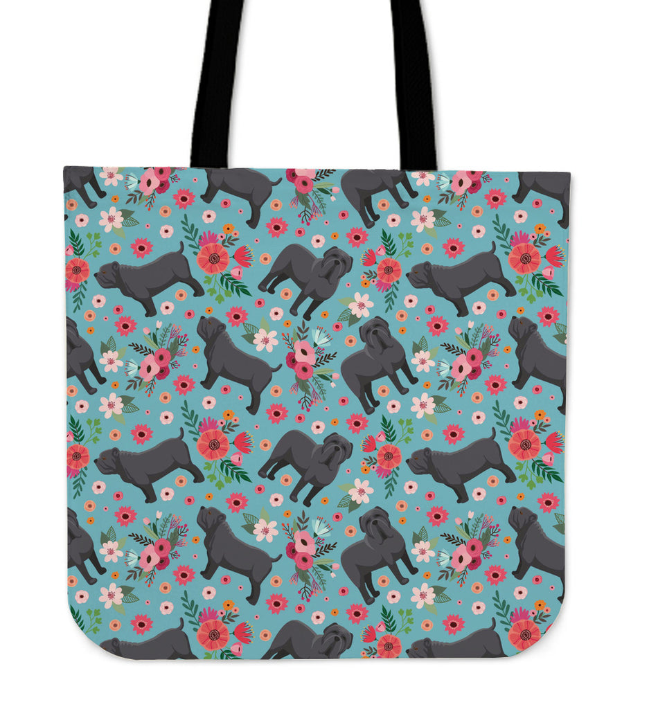 Neapolitan Mastiff Flower Linen Tote Bag