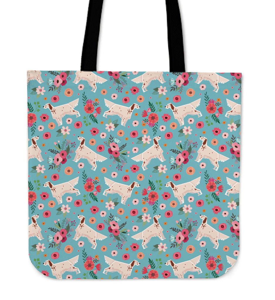 English Setter Flower Linen Tote Bag