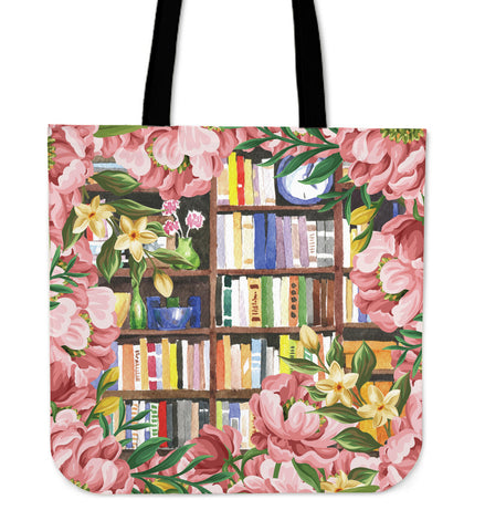 Cozy Library Nook Linen Tote Bag