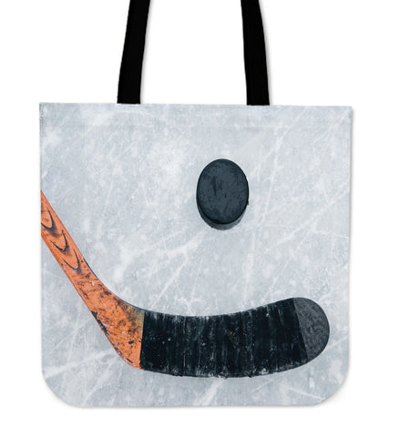 Ice Hockey Linen Tote Bag