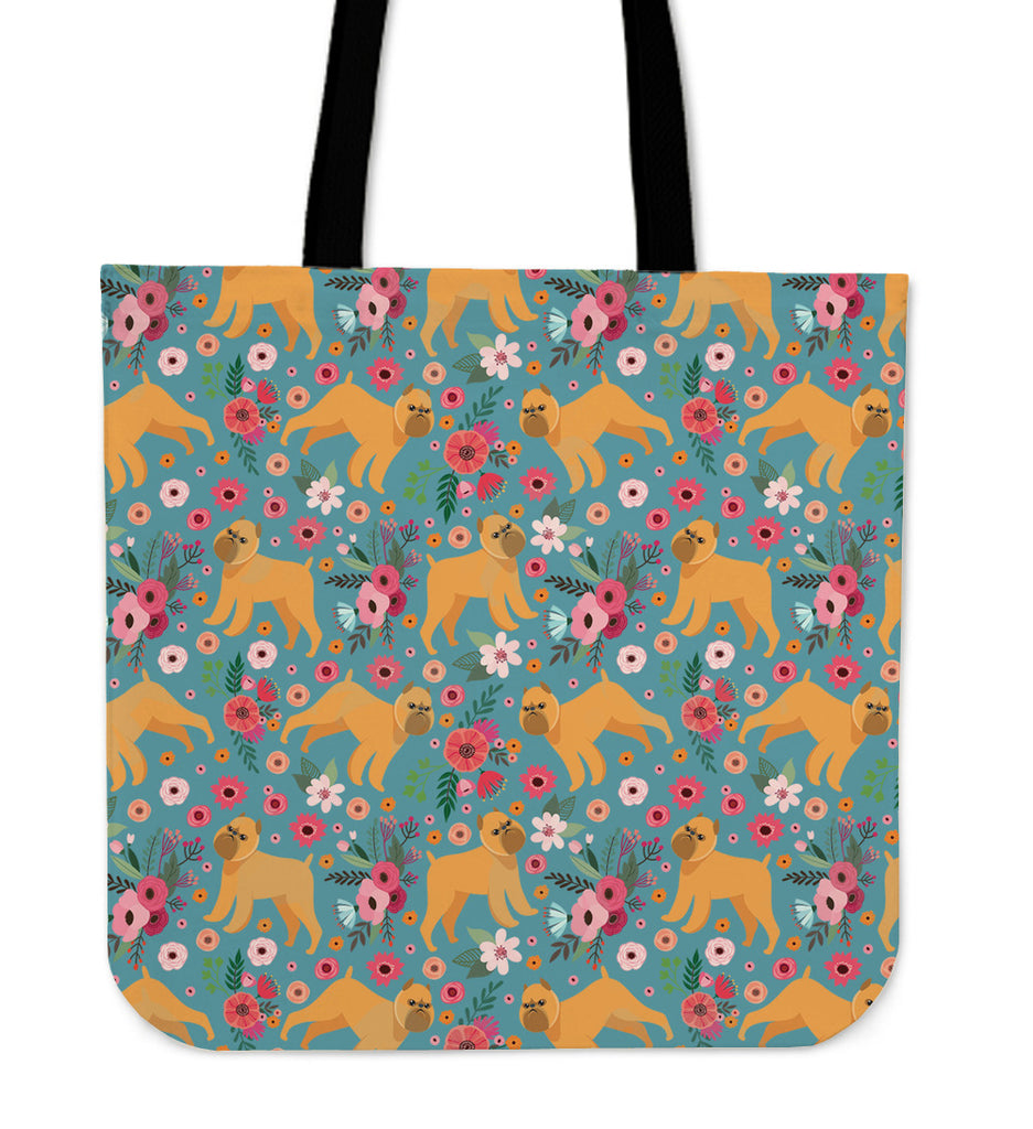 Brussels Griffon Flower Linen Tote Bag