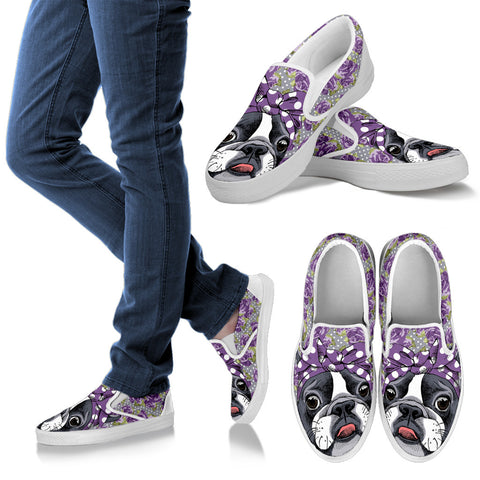 Floral Boston Terrier Purple Slip Ons
