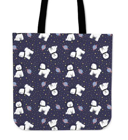 Space Bichon Frise Linen Tote Bag