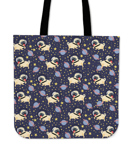 Space Pug Linen Tote Bag