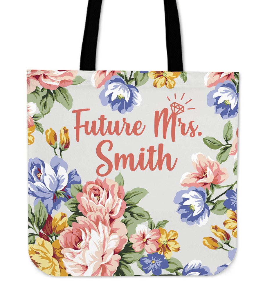 Custom Future Mrs. Linen Tote Bag