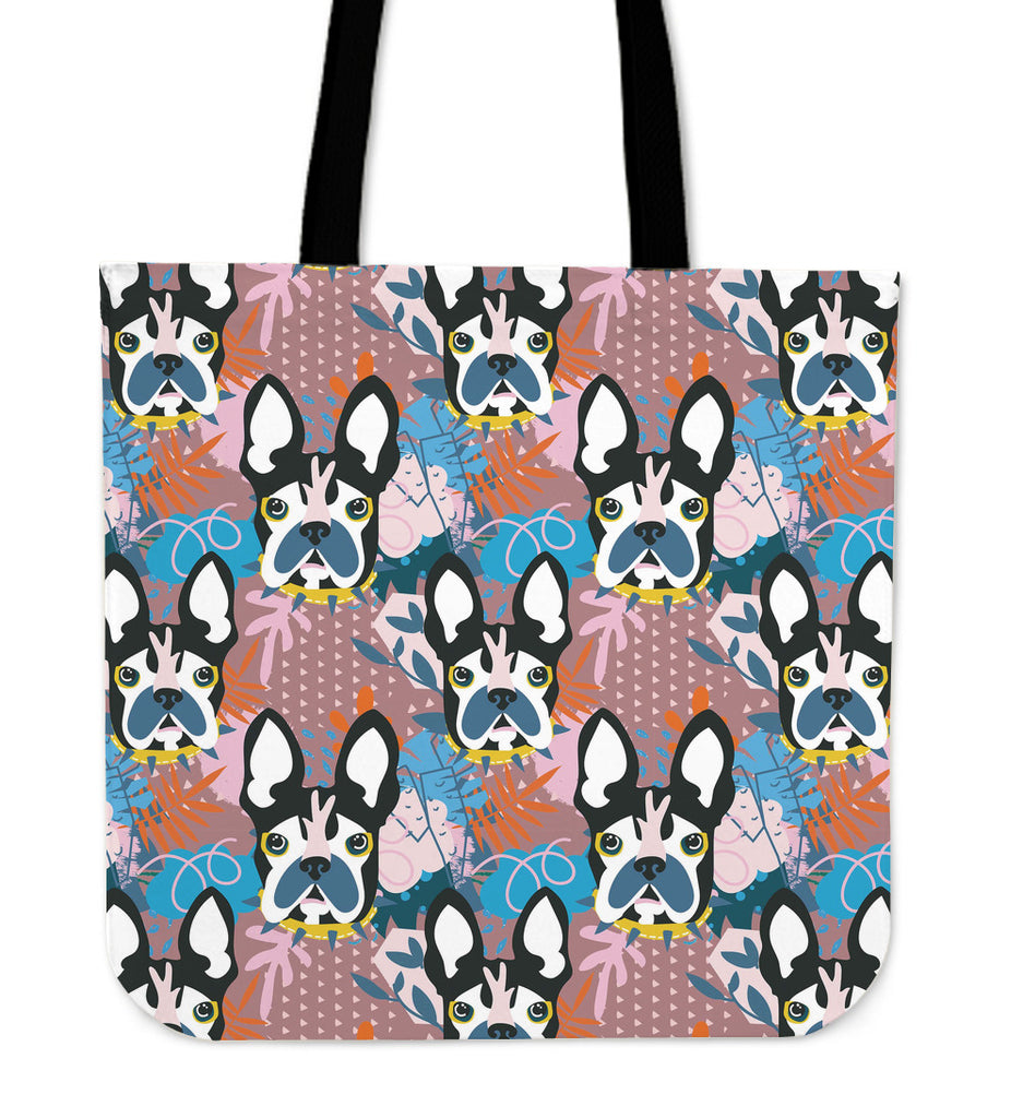 Abstract Pup Linen Tote Bag