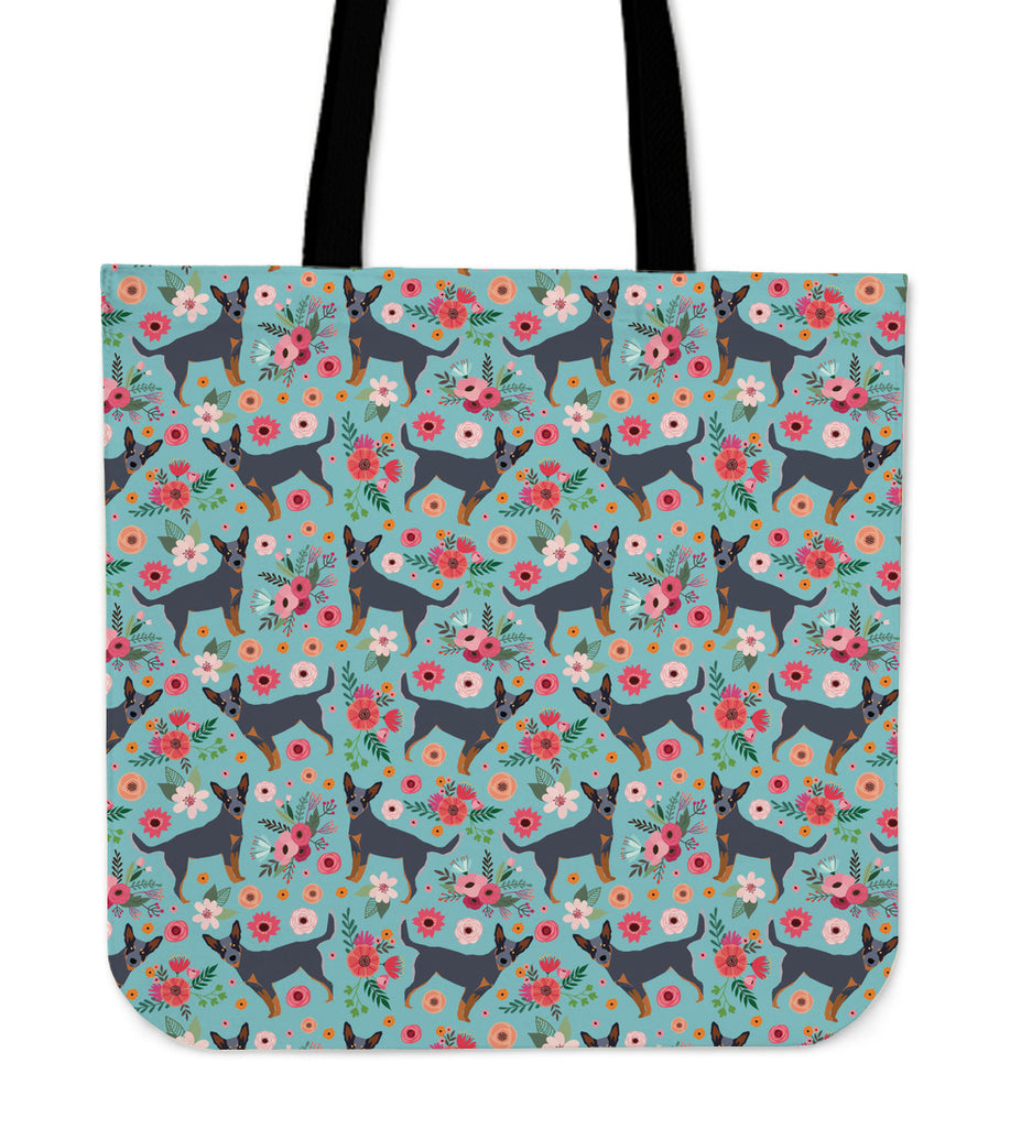 Australian Cattle Dog Flower Linen Tote Bag - Promo