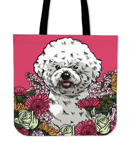 Illustrated Bichon Frise Linen Tote Bag