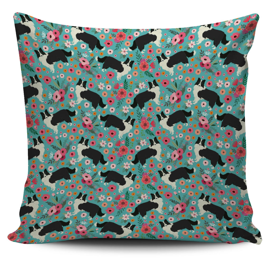 Border Collie Flower Pillow Cover