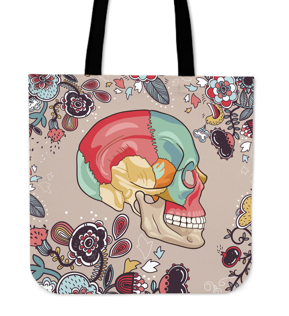 Human Skull Diagram Linen Tote Bag