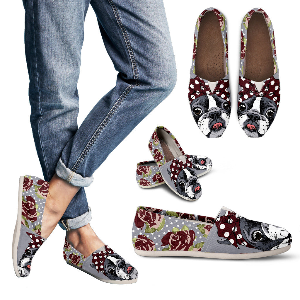 Floral Boston Terrier Dark Red Casual Shoes-Clearance