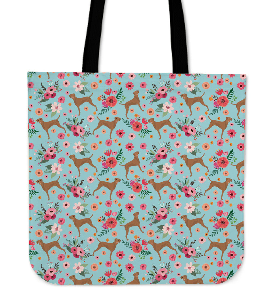 Vizsla Flower Linen Tote Bag