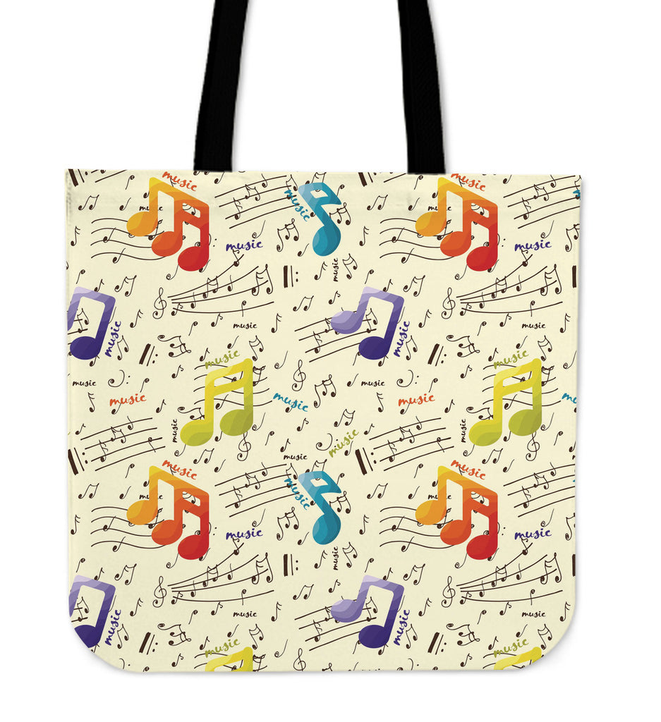 Colorful Music Notes Linen Tote Bag