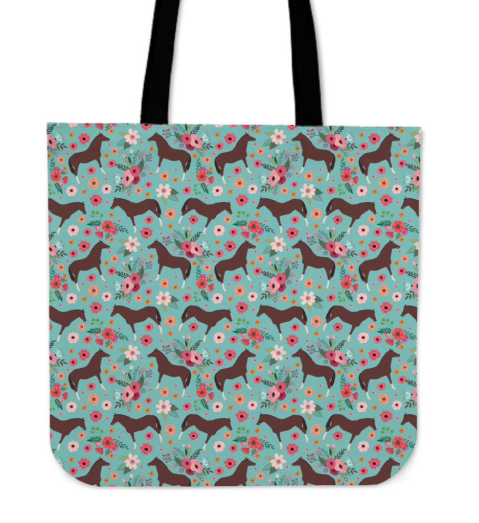 English Thoroughbred Flower Linen Tote Bag