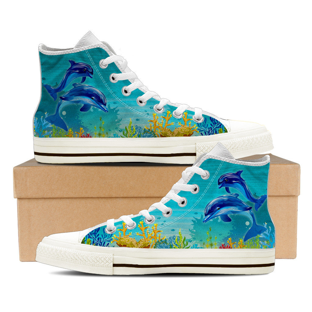 Dolphin Shoes Women's High Top White