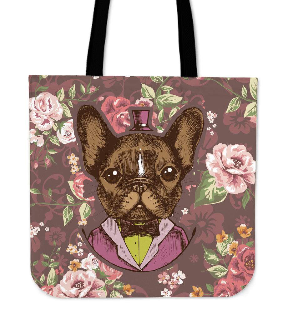 Fancy French Bull Dog Linen Tote Bag