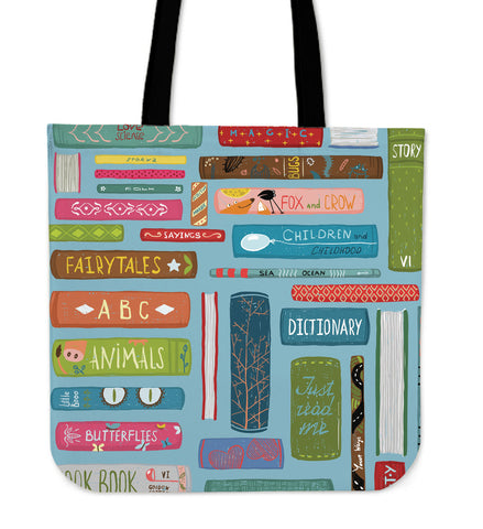 Book Title Linen Tote Bag
