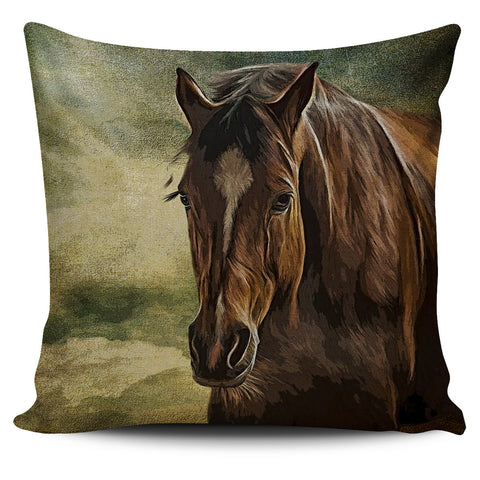 Horse Pillow Cover (Dark Brown Horse)