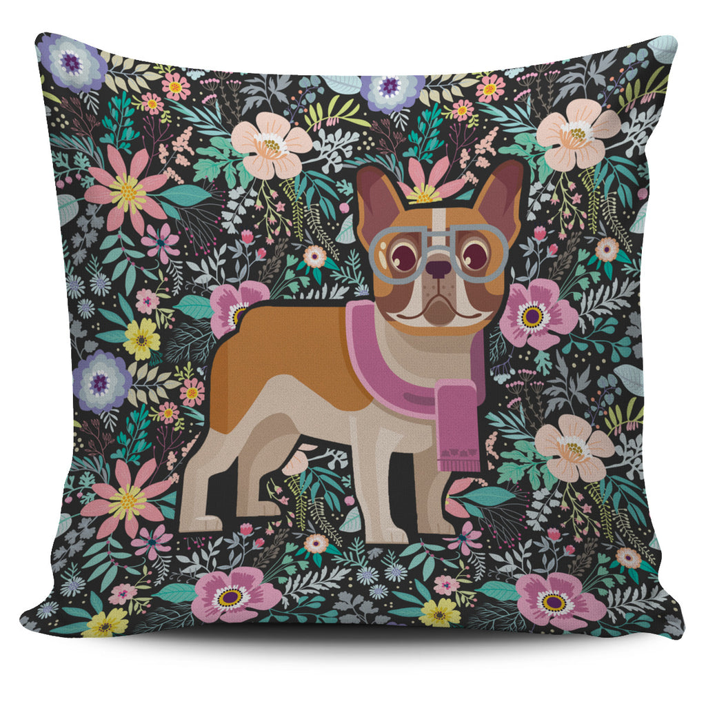 Floral French Bulldog Pillow Case