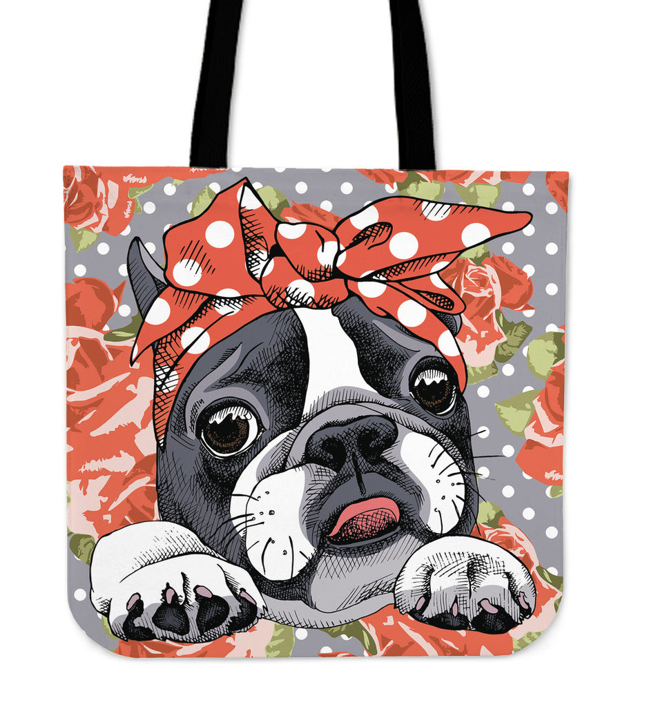Floral Boston Terrier Orange Linen Tote Bag