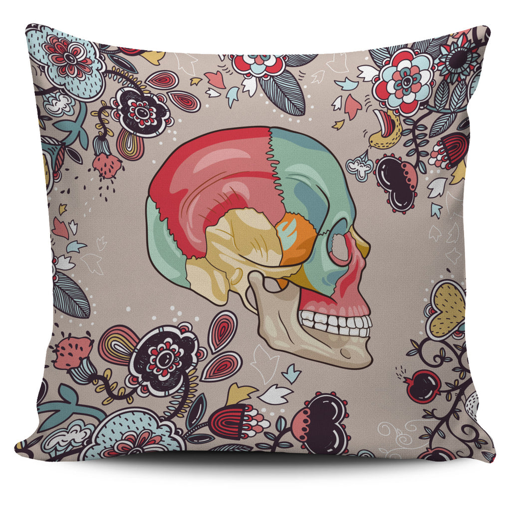 Human Skull Diagram Pillow Cover