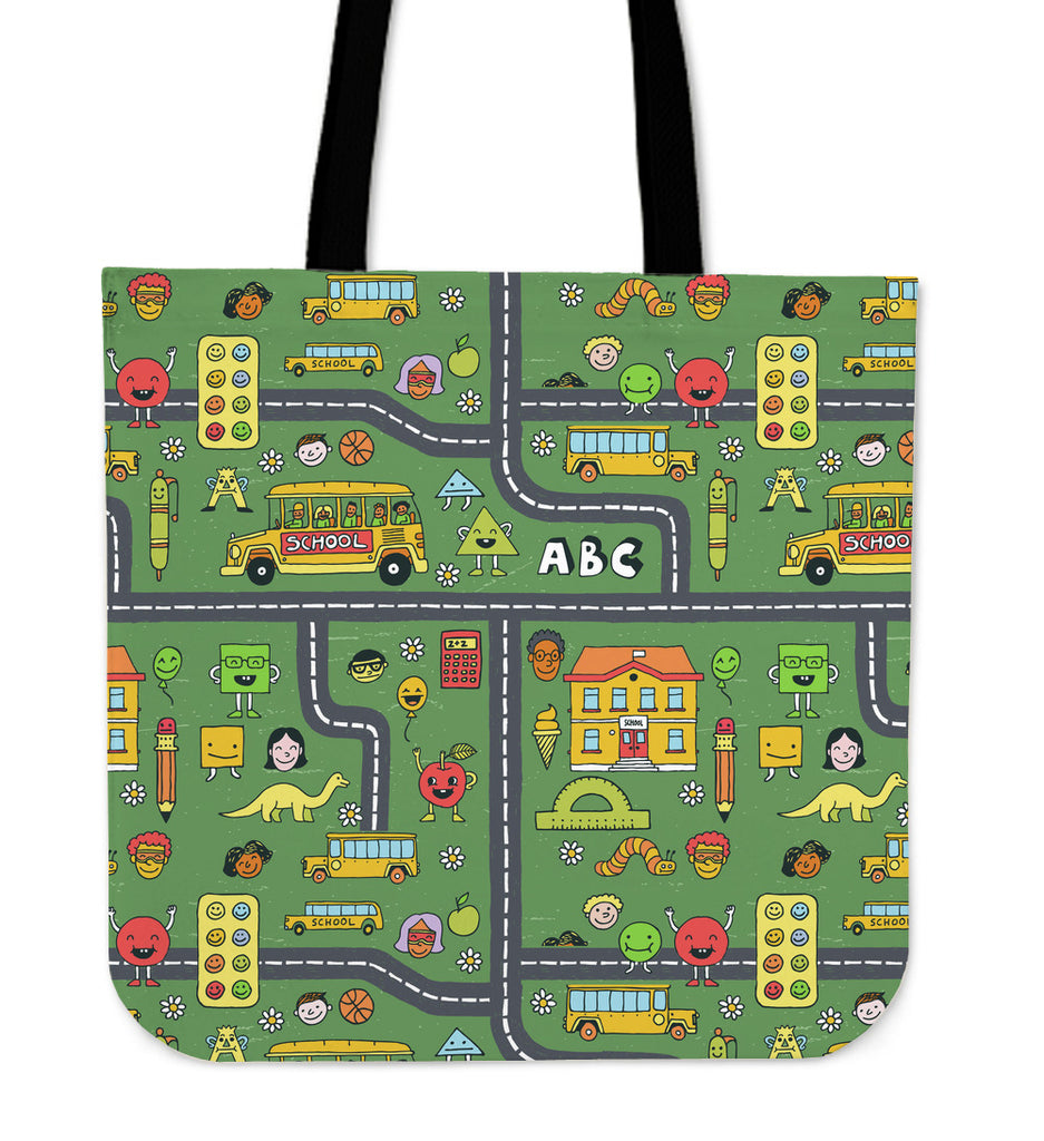 Childhood Roadmap Linen Tote Bags