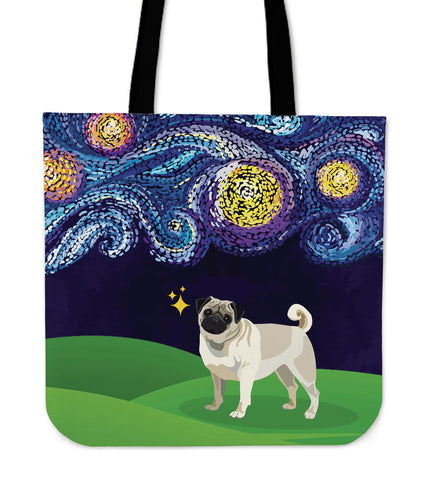 Starry Night Pug Linen Tote Bag