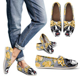 Floral Boston Terrier Yellow Casual Shoes