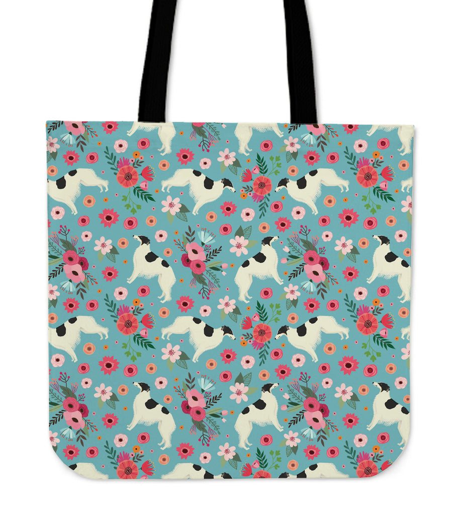 Borzoi Flower Linen Tote Bag