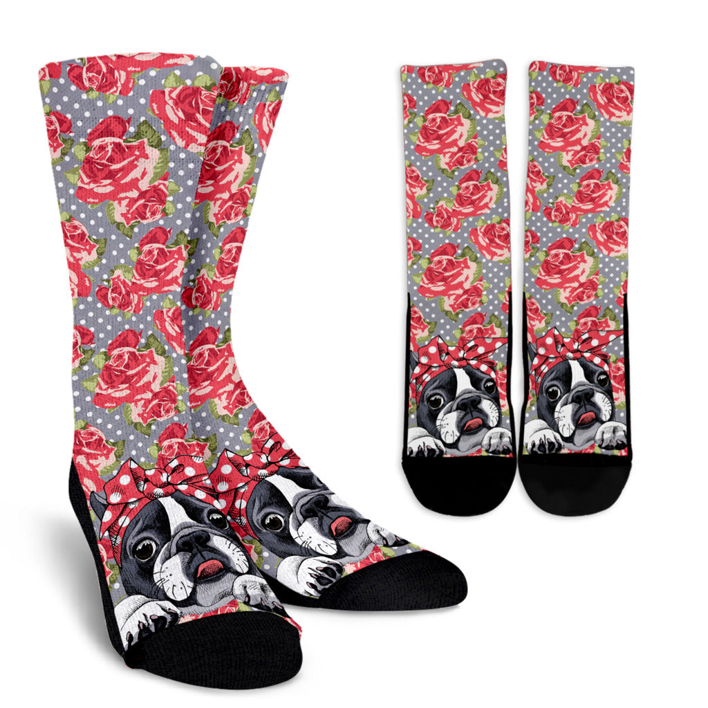 Floral Boston Terrier Socks