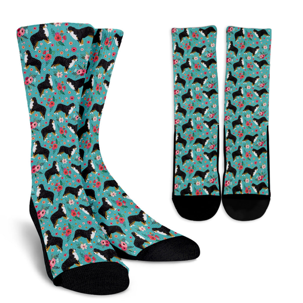 Bernese Mountain Dog Flower Socks