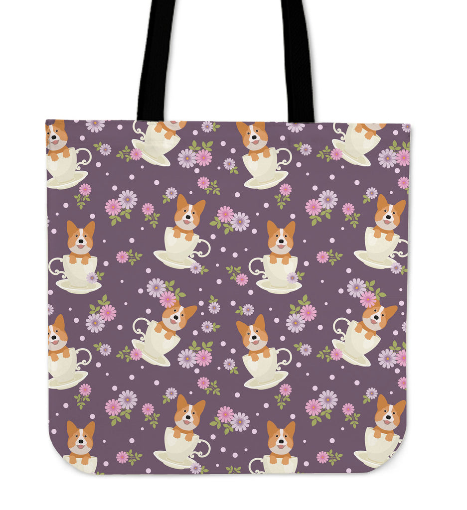 Corgi Cup Of Tea Linen Tote Bag