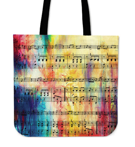 Rainbow Sheet Music Linen Tote Bag
