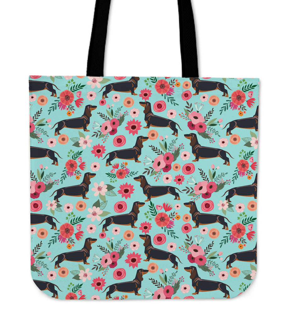 Black Dachshund Flower Linen Tote Bag