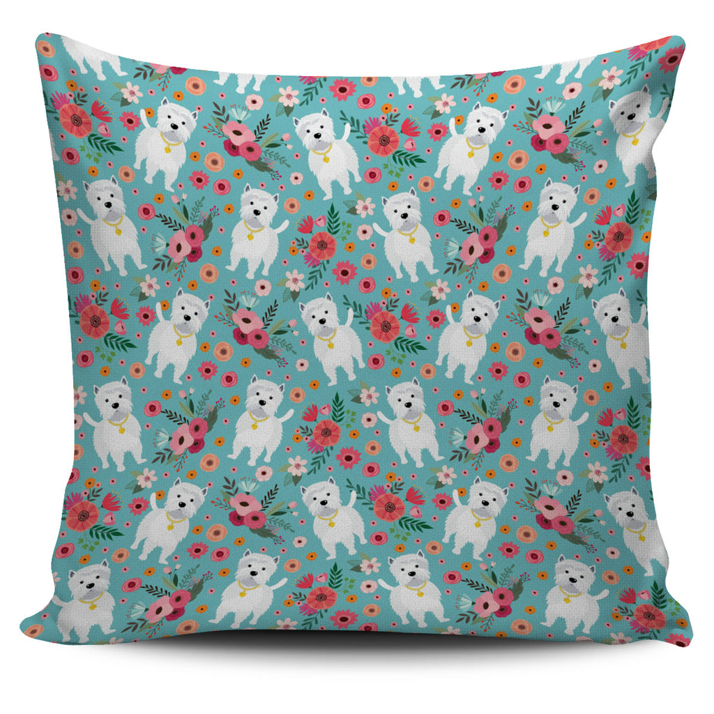 Westie Flower Pillow Cover