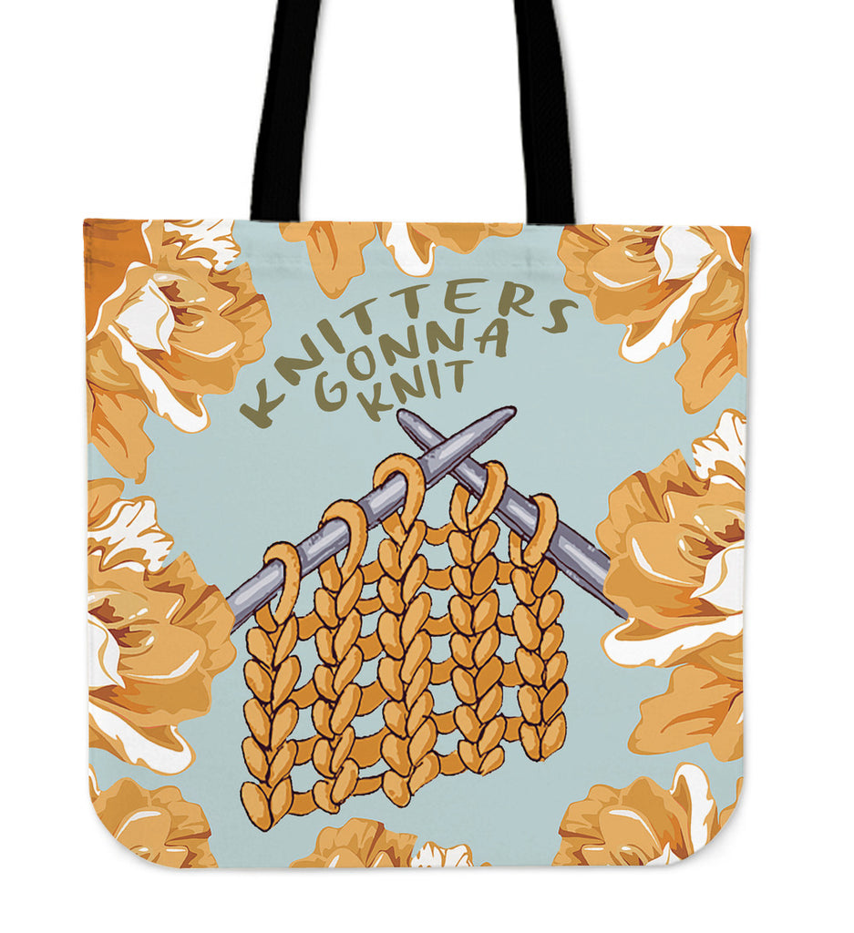 Knitters Gonna Knit Linen Tote Bag