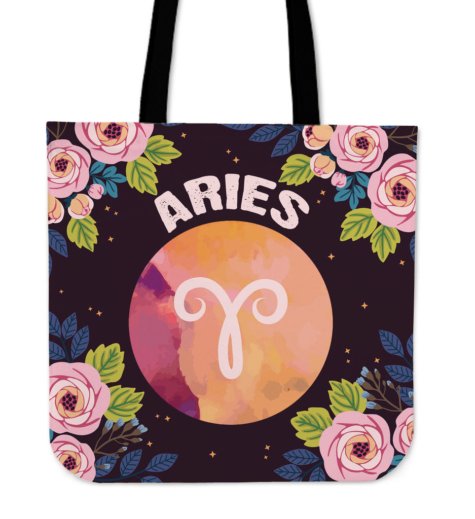 Aries Vibes Linen Tote Bag