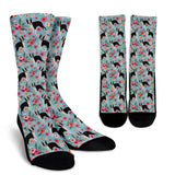 Boston Terrier Flower Socks