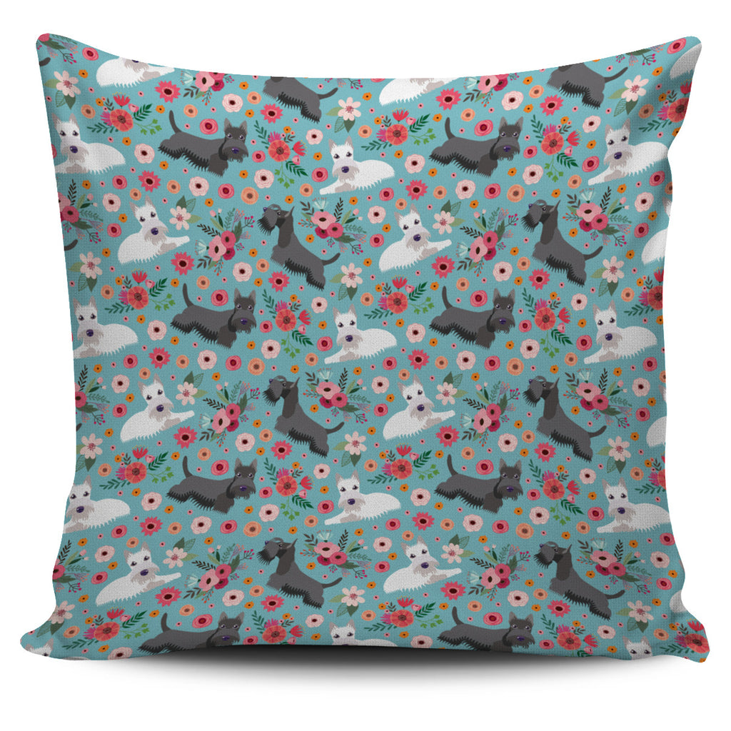 Scottish Terrier Flower Pillow Cover