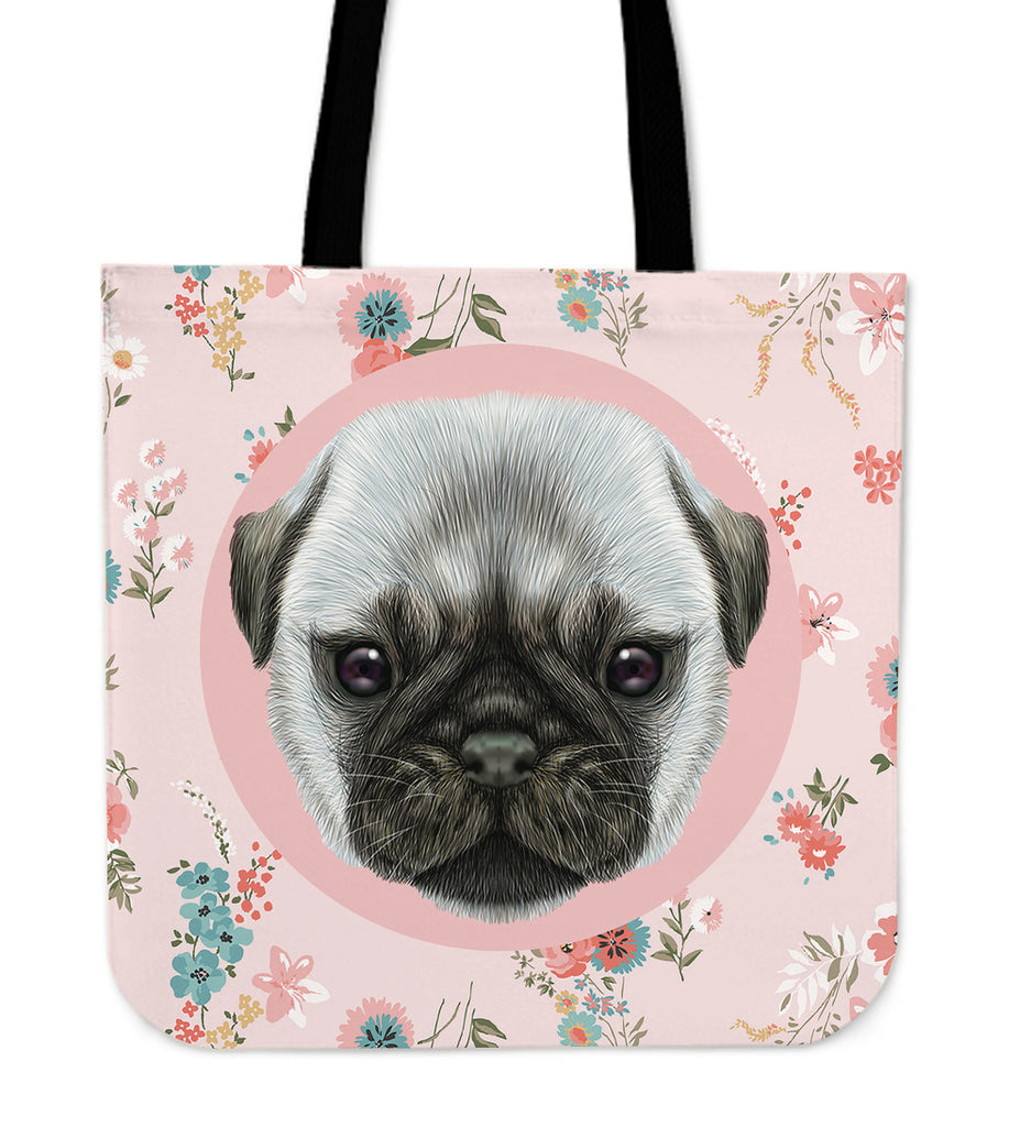 Pug Puppy Linen Tote Bag