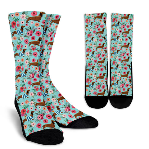 Dachshund Flower Socks