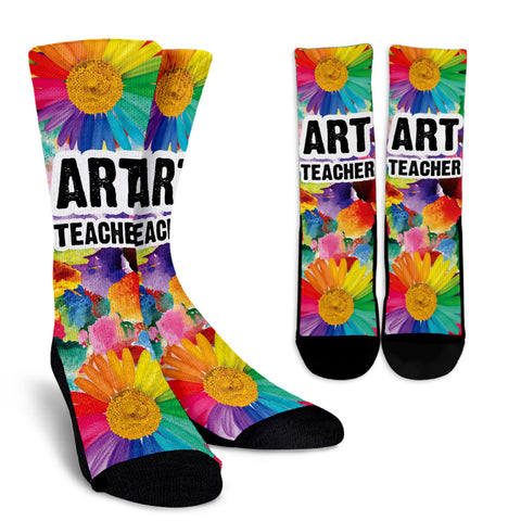 Rainbow Art Teacher Socks